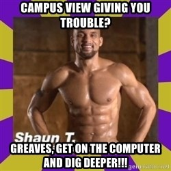Insanity Shaun T - Campus View giving you trouble? Greaves, get on the computer and dig deeper!!!