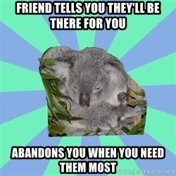 Clinically Depressed Koala - Friend tells you they'll be there for you abandons you when you need them most