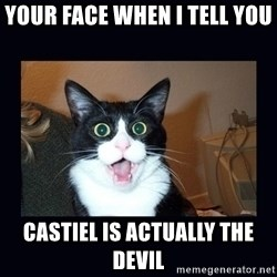 shocked cat - your face when i tell you  castiel is actually the devil