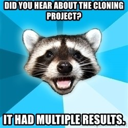 Lame Pun Coon - Did you hear about the cloning project? It had MULTIPLE RESULTS.