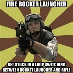Arma 2 soldier - fire rocket launcher get stuck in a loop switching between rocket launcher and rifle