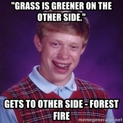 """Bad Luck Brian - """"Grass is greener on the other side."""" Gets to other side - forest fire"""
