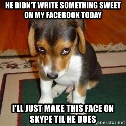 Sad Puppy - He didn't write something sweet on my facebook today I'll just make this face on skype til he does