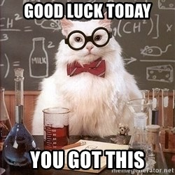 Science Cat - GOOD LUCK TODAY YOU GOT THIS