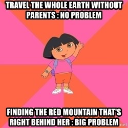Noob Explorer Dora - travel the whole earth without parents : no problem finding the red mountain that's right behind her : big problem