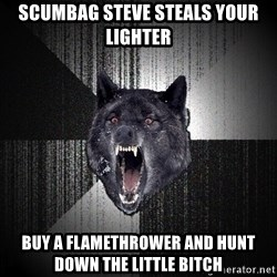Insanity Wolf - scumbag steve steals your lighter buy a flamethrower and hunt down the little bitch