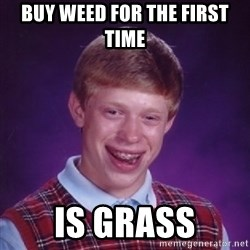Bad Luck Brian - buy weed for the first time is grass