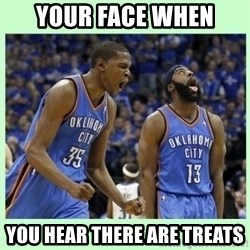 durant harden - your face when you hear there are treats