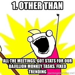 X ALL THE THINGS - 1. other than all the meetings, got stats for our bajillion monkey tasks, fixed trending