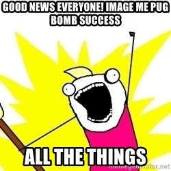 X ALL THE THINGS - good news everyone! image me pug bomb success all the things