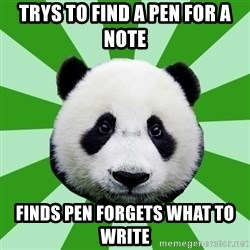 Dyspraxic Panda - trys to find a pen for a note finds pen forgets what to write