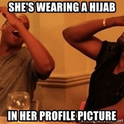 Jay-Z & Kanye Laughing - she's wearing a hijab in her profile picture