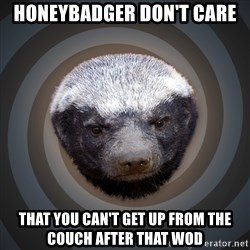 Fearless Honeybadger - HONEYBADGER don't care that you can't get up from the couch after that woD