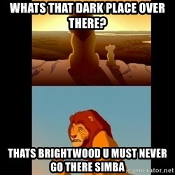 Lion King Shadowy Place - whats that dark place over there? thats brightwood u must never go there simba