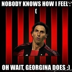 zlatan ibrahimovic - nobody knows how i feel :(  oh wait, Georgina does ;)