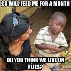 skeptical black kid - £3 will feed me for a month do you think we live on flies?