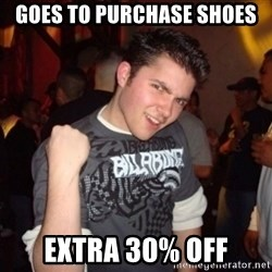 Old Success Kid - goes to purchase shoes extra 30% off