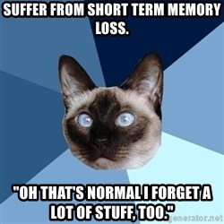 "Chronic Illness Cat - suffer from short term memory loss. ""oh that's normal i forget a lot of stuff, too."""