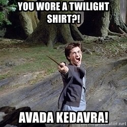 Pissed off Harry - YOU WORE A TWILIGHT SHIRT?! AVADA KEDAVRA!