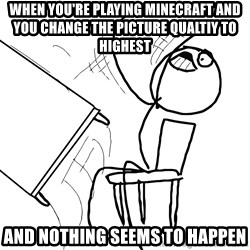 Desk Flip Rage Guy - WHEN YOU'RE PLAYING MINECRAFT AND YOU CHANGE THE PICTURE QUALTIY TO HIGHEST AND NOTHING SEEMS TO HAPPEN