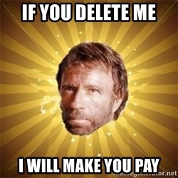 Chuck Norris Advice - If you delete me i will make you pay