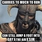 Skyrim Meme Generator - Carries to much to run can still jump a foot into the air