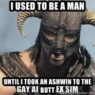 Skyrim Meme Generator - I used to be a man until i took an ashwin to the butt