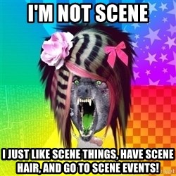Insanity Scene Wolf - I'M NOT SCENE I just like scene things, have scene hair, and go to scene events!