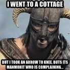 Skyrim Meme Generator - I went to a Cottage But I took an Arrow to Knee, buts its Manmohit who is complaining...