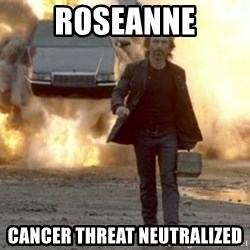 car explosion walk away - roseanne cancer threat neutralized