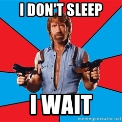 Chuck Norris  - i don't sleep i wait
