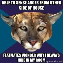 PTSD PUMA - Able to sense anger from other side of house Flatmates wonder why I always hide in my room
