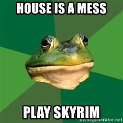 Foul Bachelor Frog - house is a mess play skyrim