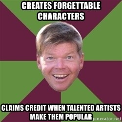 Rob Liefield - Creates forgettable characters claims credit when talented artists make them popular