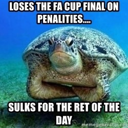 disappointed turtle - loses the fa cup final on penalities.... sulks for the ret of the day