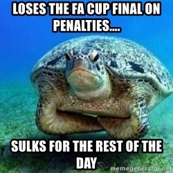 disappointed turtle - loses the fa cup final on penalties.... sulks for the rest of the day