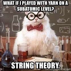 Chemistry Cat - what if i played with yarn on a subatomic level? string theory.