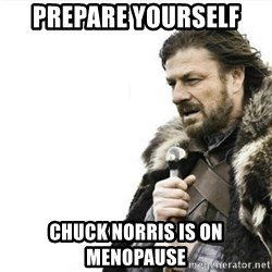 Prepare yourself - prepare yourself chuck norris is on menopause