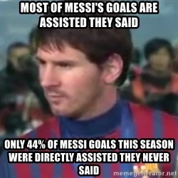 Messi Dont Understand - Most of messi's goals are assisted they said only 44% of messi goals this season were directly assisted they never said