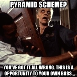 Annoying zombie - pyramid scheme? you've got it all wrong. this is a opportunity to your own boss.