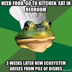 Foul Bachelor Frog - Need Food. Go To Kitchen. Eat in Bedroom 3 Weeks Later new ecosystem arises from pile of dishes