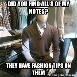 Trender Man - DID YOU FIND ALL 8 OF MY NOTES? THEY HAVE FASHION TIPS ON THEM
