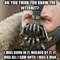 Bane - Oh, you think you know the internet? i was born in it, molded by it. it was all i saw until i was a man
