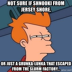 Futurama Fry - not sure if shnooki from jersey shore, or just a grunka-lunka that escaped from the slurm factory...