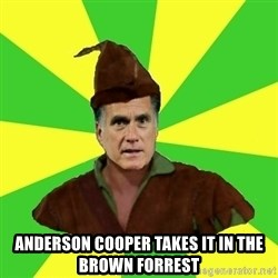 RomneyHood - ANDERSON COOPER TAKES IT IN THE BROWN FORREST