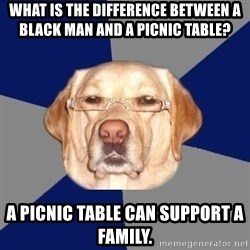 Racist Dog - What is the difference between a black man and a picnic table?  A picnic table can support a family.