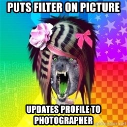 Insanity Scene Wolf - Puts filter on picture Updates profile to photographer