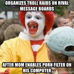 Clown Trololo - organizes troll raids on rival message boards after mom enables porn filter on his computer