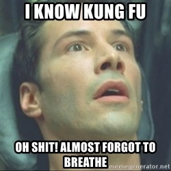 i know kung fu - I KNOW KUNG FU OH SHIT! ALMOST FORGOT TO BREATHE
