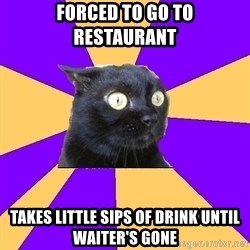 Anxiety Cat - forced to go to restaurant takes little sips of drink until waiter's gone